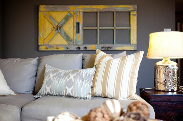 deko ideen wohnzimmer wandgestaltung vintage alte holztür