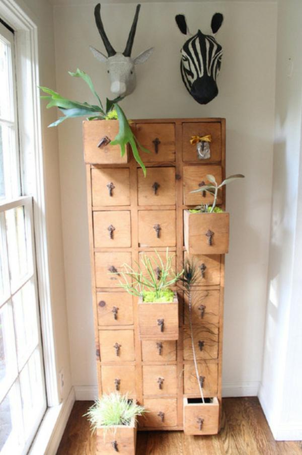 dekoideen für gartengestaltung im innenberich pflanzen schrank