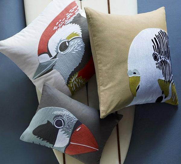 dekoideen tropisch papagei muster dekokissen