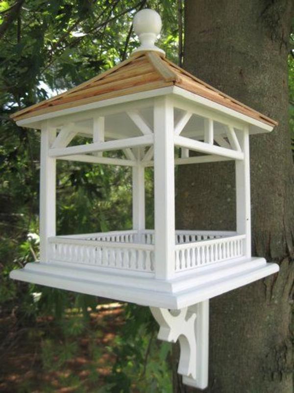 Dekoratives Futterhaus Weiß Holz