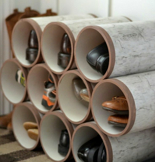 Schuhregal selber bauen rohre  Möbel Aus Alten Rohren: Diy schuhregal rohre martioto.
