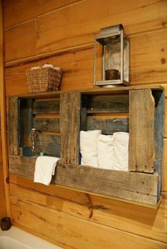 diy möbel rustikale badmöbel holzeinrichtung holzkisten paletten handtücher