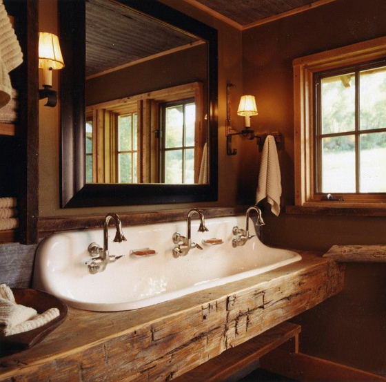 drei faches waschbecken rustikale badmöbel massives holz