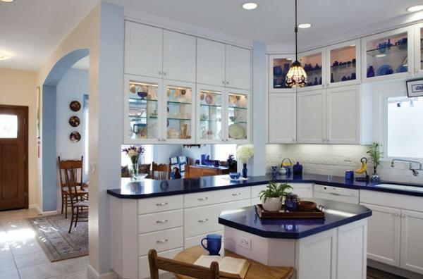 dunkel blau motive texturen kompakt esstisch eingebaut küchenschrank