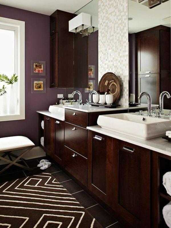 braune badezimmergestaltung design holzmöbel