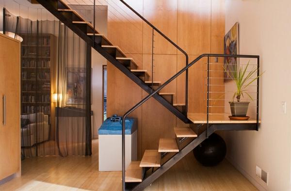 dunkle gardinen aufteiler trennwand treppe