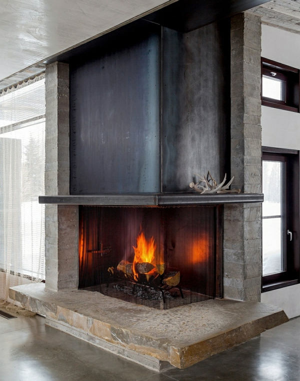 eckige feuerstelle spart raum berghütte design ideen