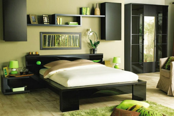 schlafzimmer grün wand regale effektvoll einrichten