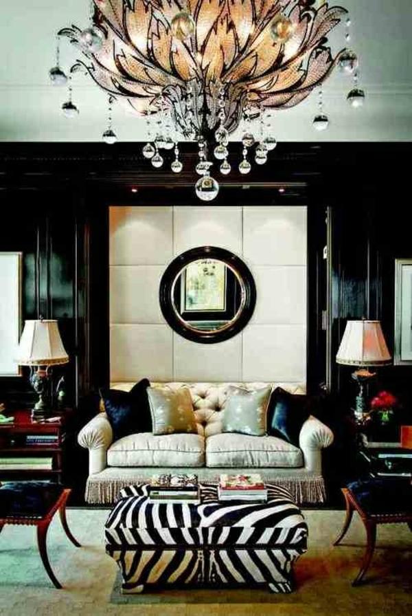 einrichtungsideen möbel modern elegant pendelleuchte zebramuster