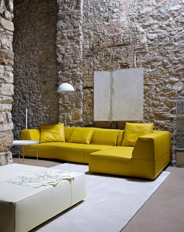 einrichtungsideen möbel modern gelb sofa