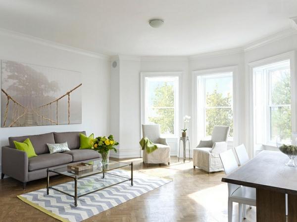 Attraktiv Einrichtungsideen Wohnzimmer Interior Design Grüne Akzente Chevron