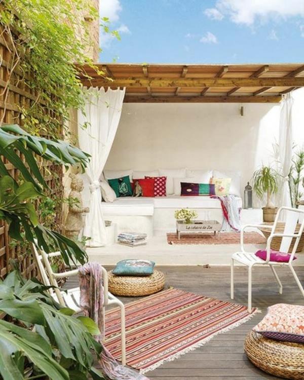 eklektisch patio farbige dekoideen teppich gartenmöbel
