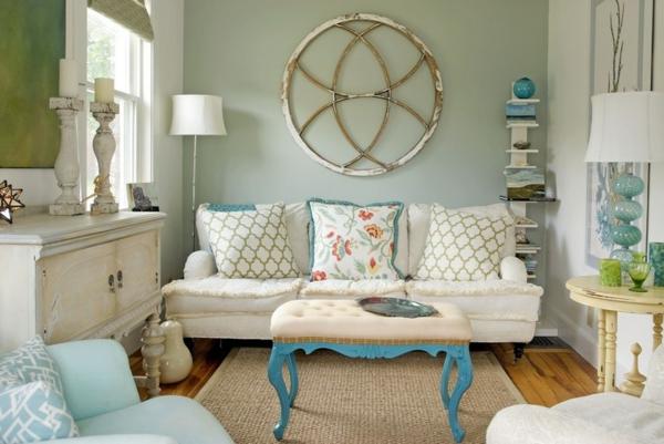 eklektisch wohnstil wohnzimmer glas dekoartikel kissen