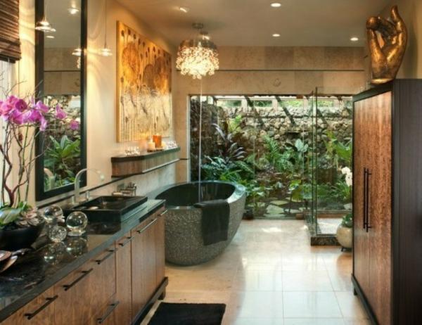 eklektische badezimmergestaltung freistehende wanne holz badmöbel