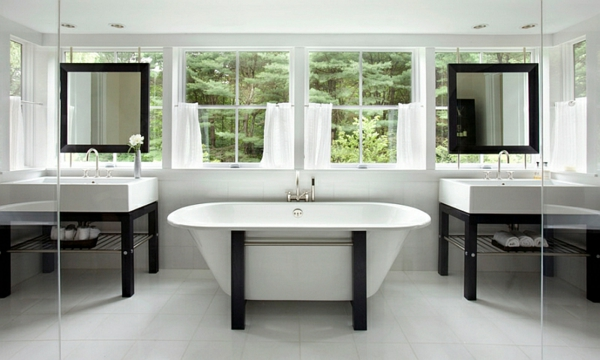 Elegante Moderne Badezimmer Ideen Farbgestaltung Schwarz Weiß