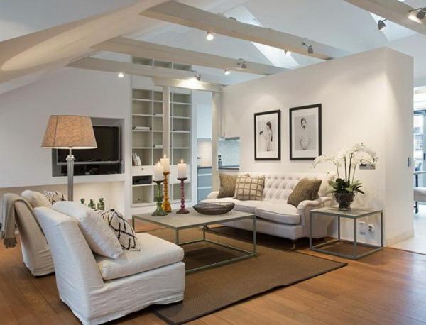 elegantes wohnzimmer am dach möbel dekoideen