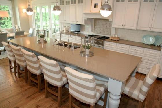 esszimmer esstisch mit stühlen streifenmuster küchenideen kücheninsel