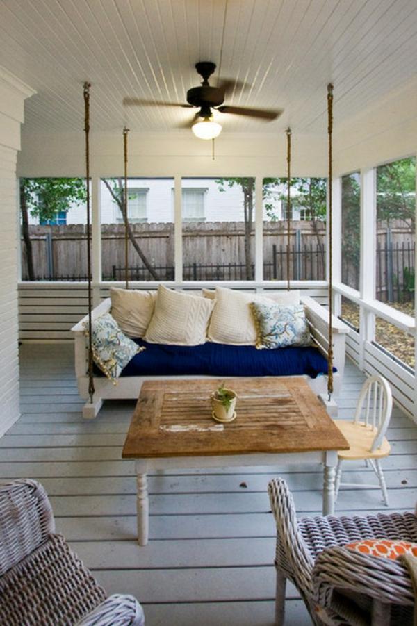 familiennhaus terrassengestaltung ideen sitzecke rattan möbel