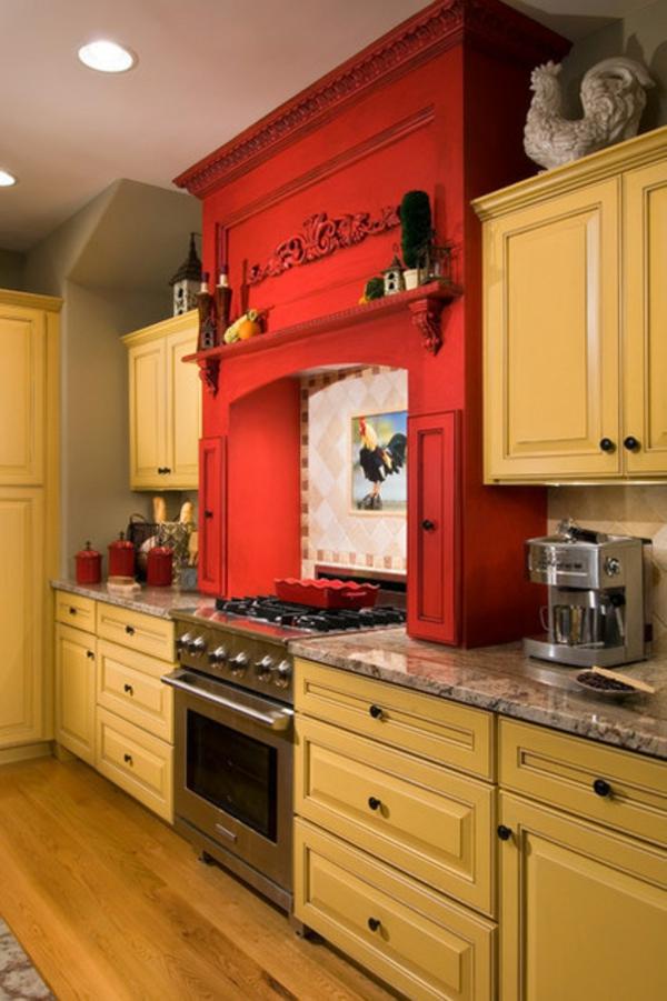 farbgestaltung küche einrichten küchenschränke wandfarbe gelb