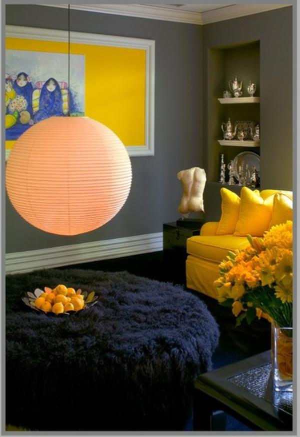 farbgestaltung wohnzimmer sofa gelb wandgestaltung wandfarbe