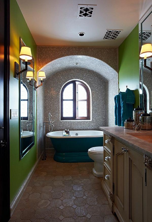 farbige badezimmer badmöbel badewanne mit sockel