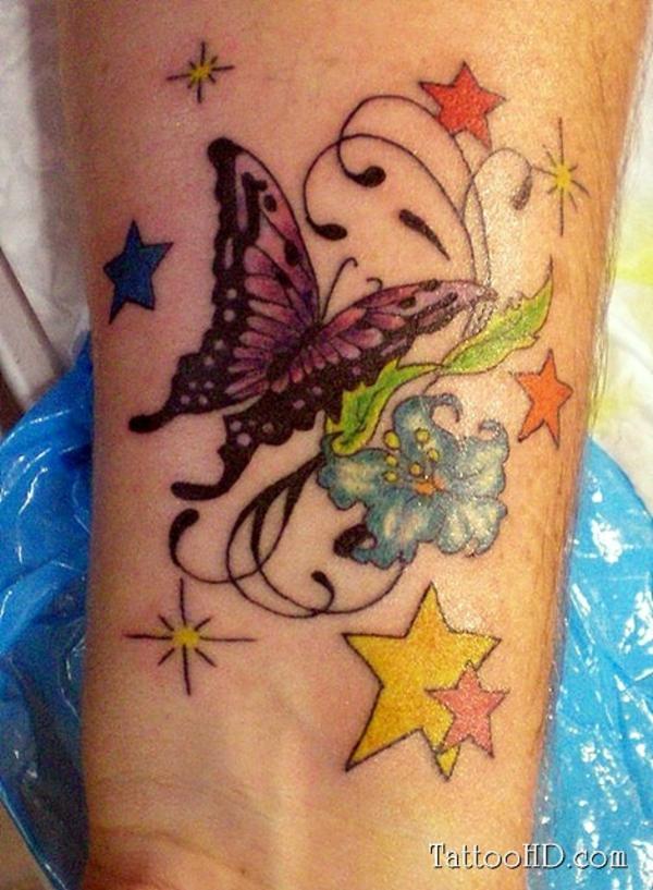 farbige tattoo handgelenk ideen
