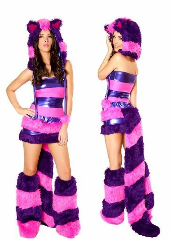 fasching kostüme lila grinsekatze