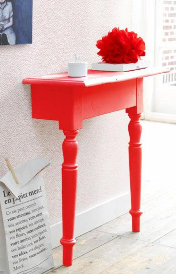 flur design ideen rote akzenten
