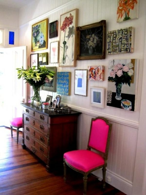 flur farben wanddeko bilder rosa anrichte