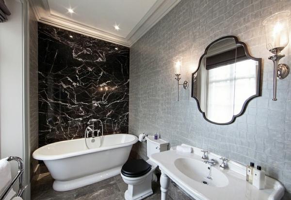 freistehende badewanne schwarz weiß grau