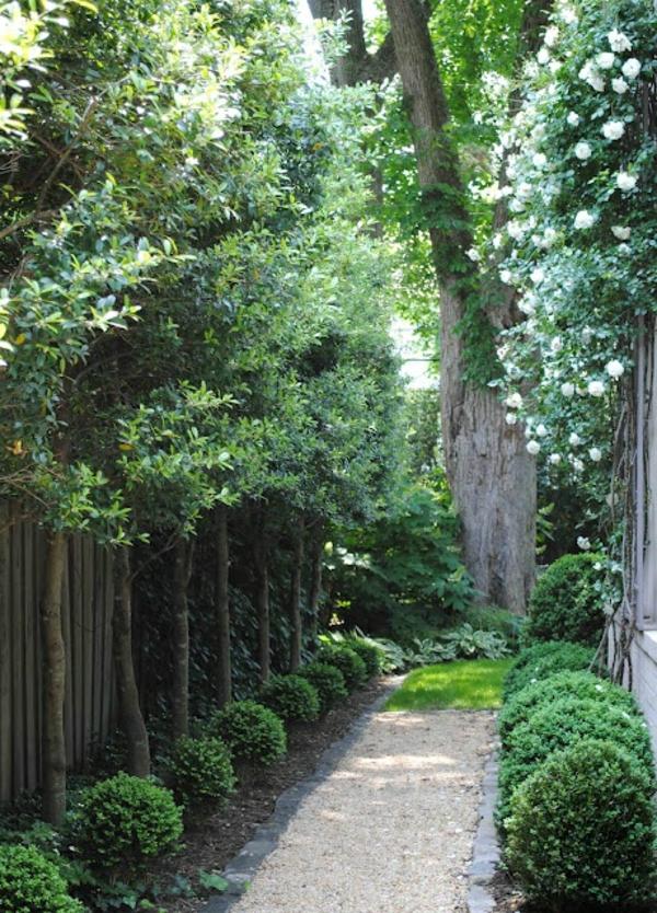 fußweg garten sträucher bäume kies Gartengestaltung mit Kies und Steinen