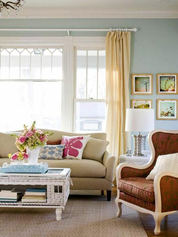 wohnzimmer hellgelb:gardinen ideen im wohnzimmer hellgelb sofa couchtisch aus rattan