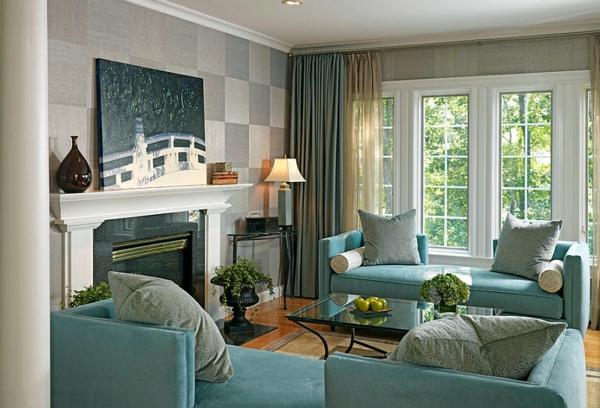 gardinen türkis polstermöbel bequem sofas kamin