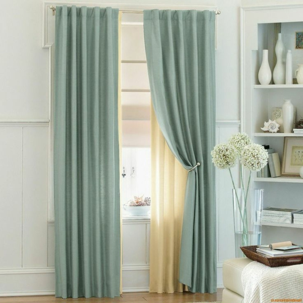 gardinen vorhänge gardinenstange gardinenstoffe türkisgrün hellgelb gardinenhalter