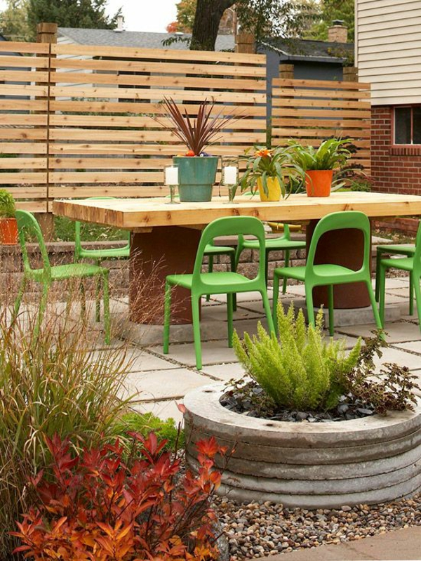 Garten Ideen Sichtschutz Holz Esstisch Stühle