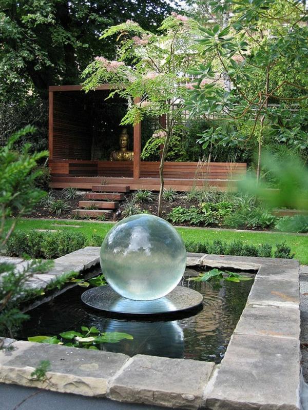 gartengestaltung ideen bilder glaskugel pergola teich