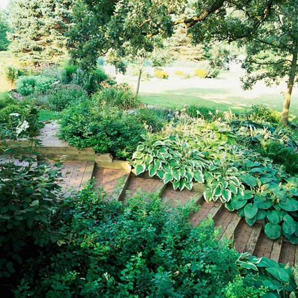 Gartengestaltung Am Hang Hanggarten Ideen Stufenartig Gehweg