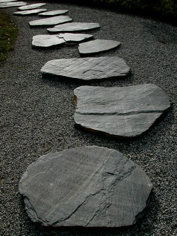 gartengestaltung mit steinen steinplatten