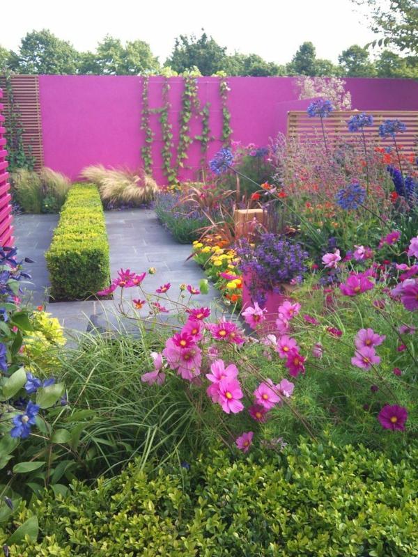 gartengestaltung modern Garten und Landschaft  idee auffallend rosa farbe