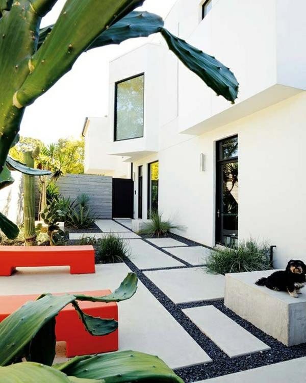 gartengestaltung modern landschaft garten idee rote akzente