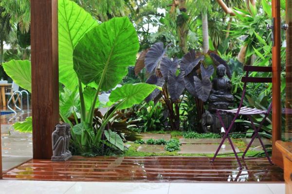 gartengestaltung tropischer garten pflanzen holzveranda