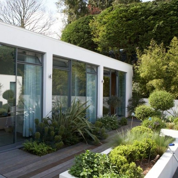 ideen anlegen bilder gartengestaltung modern fassade glas