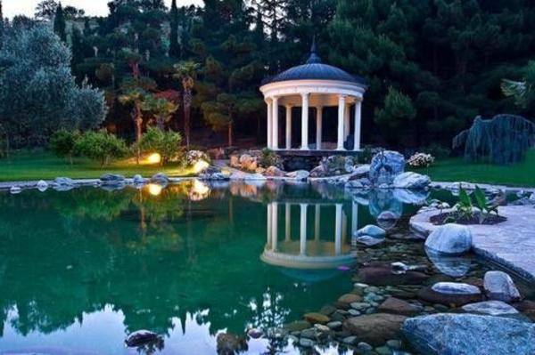 gartenpavillon bauen gartengestaltung wassergarten