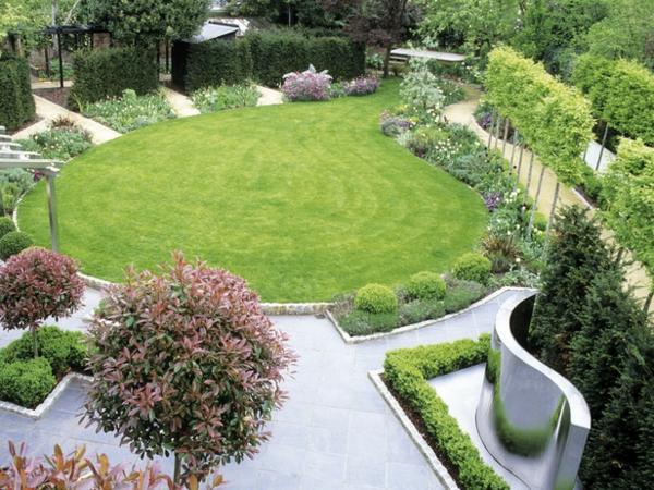gartengestaltung ideen geometrisch anordnung gras fläche