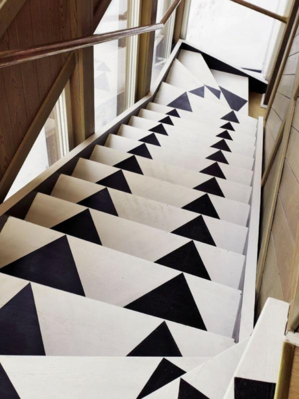 geometrische elemente treppenläufer schwarz-weiß