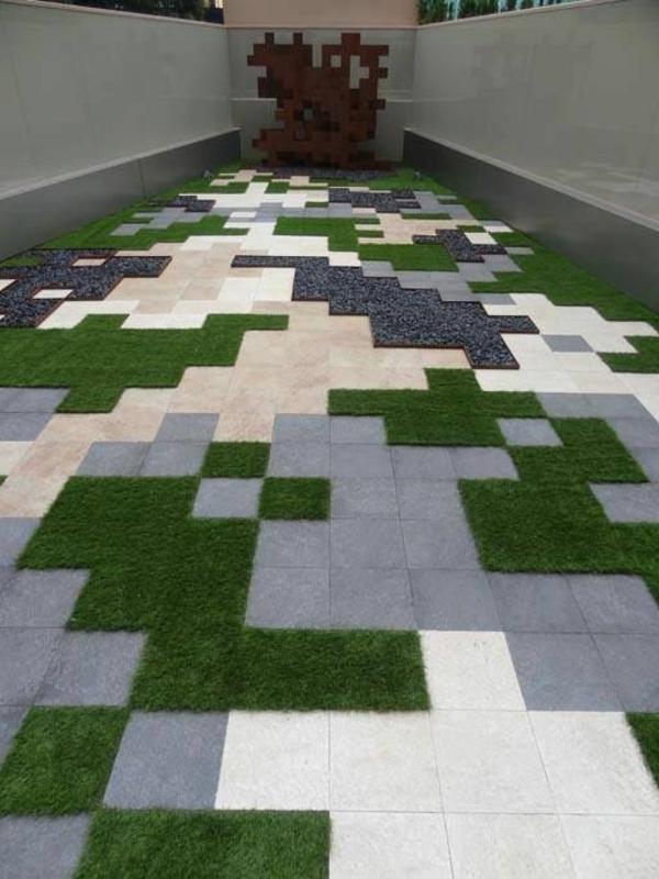 geometrische terrassengestaltung farben gras