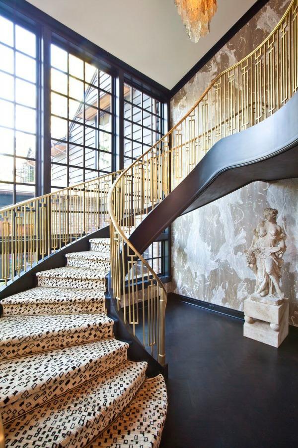 geomtrische treppenteppiche treppenhaus geländer