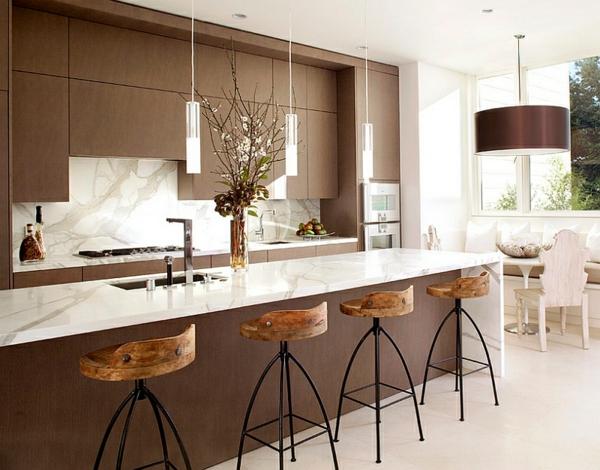 Beau Geschmeidig Küche Marmor Oberflächen Hocker Pendelleuchten Im Esszimmer
