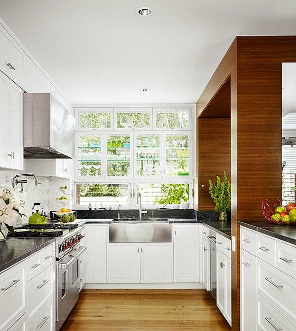 glas regalsystem am fenster moderne küche design