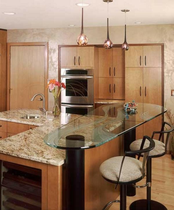 marmor glas tischplatte hocker lehnen moderne Küchengestaltung Ideen